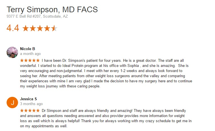 patient reviews for Dr Terry Simpson Phoenix